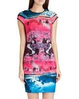2014 New arrival Ladies' elegant beautiful colorful print sheath Dress O-neck short sleeve casual slim evening party dress
