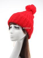 2014 soft woolen yarn knitted women cap leisure big pom pom hat winter keep warmers many color