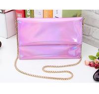 Casual Bag Bolsa Bolsas The Original New Europe And Colorful Laser Mirror Curling Color Chain Obliquely Across Envelope Bag Hand