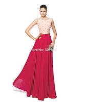 OEC453 Elegant Chiffon Boat Neckline Jewel Beaded Pink and Red Evening Dress 2015