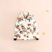 free shipping!2014 winter children girl horse print cotton-padded coat warm jackets with belt
