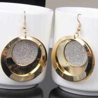 New Fashion Brand Round Shape Pendant Earrings for Women Classic 18k Gold Plated Women Dress Accessories Jewelry Earrings