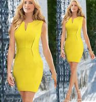 New Arrival Women Office Dress Summer High Waist Sheath V-Neck Knee-Length Zipper Brief Dresses KB182