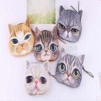 Coin Purses So Lovable Cat  Women Cute Cat 3D Face Owl Purse Eyes Mini Zip Coin Bags 2014 New free shipping
