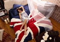 UK Flag Print Fleece Fabric Softest Warm Winter Bedding set duvet cover set queen size bedcover bed sheet bedlinen