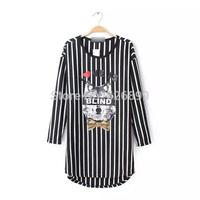 2014 New Design Women's Blouse Adorable Novelty Long Style Vertical Stripes Wolf Pattern Print Loose Ladies Shirt EK912