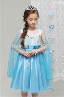 Retail baby girls Snow Queen summer dress/kids princess dresses with cloak/children summer Elsa clothing