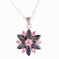 Wholesale Beauty Flower Design New Fashion Marquise Cut Rainbow Topaz & Pink Topaz 925 Free Silver Chain Necklace Pendant
