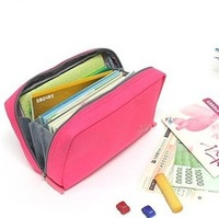 2014 New Arrival Women Multifunctional Canvas Cosmetic Bag Make-up Bag Storage Pouch Bankbook Pocket Passport Digital Bag