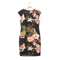 Women vintage polyester floral prints o-neck short sleeves knee length slim fit hip packed dress 421230