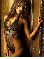 Sexy Women Women Clothing Black Dot Print Lace Halter Teddy Romper Lingerie Sexy Babydolls Jumpsuits LC3058 Free shippin