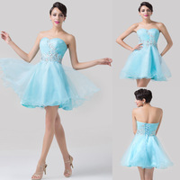 Sexy Strapless Light Blue Lace Short Cocktail Dresses Ruched Bodice Mini Prom Party Dress Above Knee Design Princess DressCL6178
