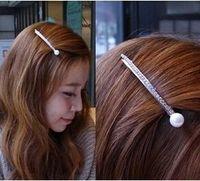 T290  Genuine pearl rhinestone hair accessories hairpin word folder word spring side bangs clip headdress barrettes
