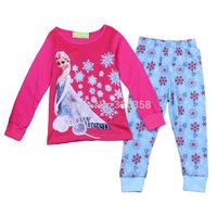 Retail baby girls Snow Queen Elsa pajamas/ kids Frozen  clothing set/ Children cartoon long sleeve sleepwear
