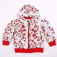 NOVA kids wear girls winter clothes printed sweet hearts zipper up jacket hoodies brand for girls F3011