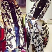 free shipping 2014 Autumn fashion new wild zebra print long paragraph blazers loose cardigan jacket women  wholesale