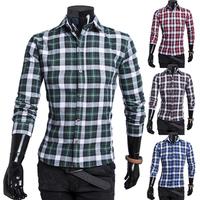 Free Shipping 2014 New Arrive fashion Men's shirts, calssical coloured plaid patterns men shirt, casual slim fit shirts men