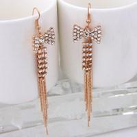 Fashion Trendy Gold Plated Crystal Rhinestone Tassel Dangle Earrings Jewelry Princess Costume Bowknot Earrings For Women