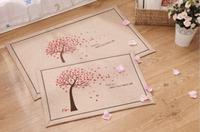 Free shipping Daily useNew arrival Cotton Linen rainy  floor carpet door mat with anti slip back home decor 50x80cm 40*60cm set