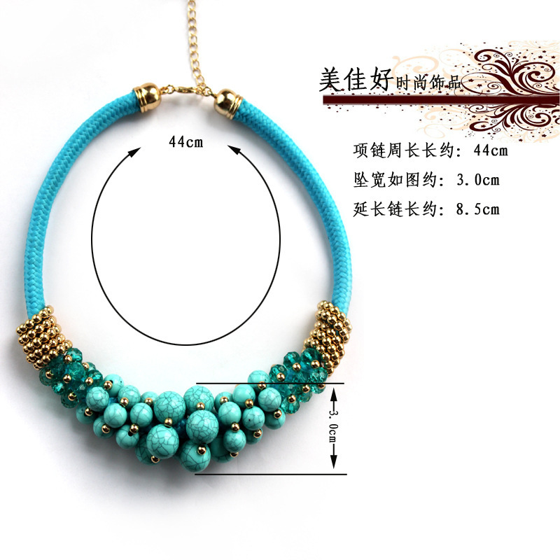 Free shipping the new European and American green circle bead necklace(China (Mainland))