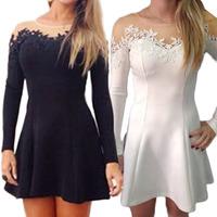Free Shpping 2014 Woman Casual Mesh Dresses Lace Mini Dress For Ladies Womens A-Line O-neck Minidress vestido de festa femininos