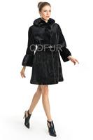 Luxury 2014 European Natural Whole-hide Sheared Mink Fur Coat Jacket with Hoody Winter Women Fur Outerwear Coats QD70711