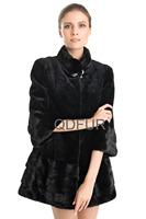 2014 European Genuine Natural Sheared Mink Fur Coat Jacket Mandarin Collar Winter Women Fur Outerwear Coats 3/4 Sleeve QD70710