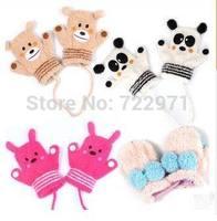 2014 new little girls boys winter gloves animal cartoon design gloves for 1 - 4 years old child baby kids winter gloves 1 order