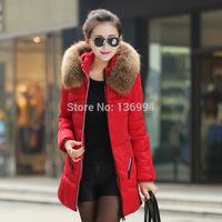 New 2014 Winter Jacket Thicken Slim Female Raccoon Fur Collar Long Coat Women Parka Winter Down cotton Coat Plus Size M-4XL