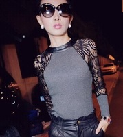 New 2014 Autumn Fashion Women Lady Lace Patchwork Slim Fit Tops Tees Long Sleev T Shirt, Gray, Black