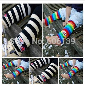 "New arrival fashion ""I love mom"" striped leg warmers Rainbow leg warmers 4pairs/lot free shipping(China (Mainland))"