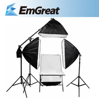 Photography Studio Rectangle Continuous SoftBox Lighting Kit 4x 50x70cm Softbox+3x Light Holder Stand+Shooting Table+Boom Arm