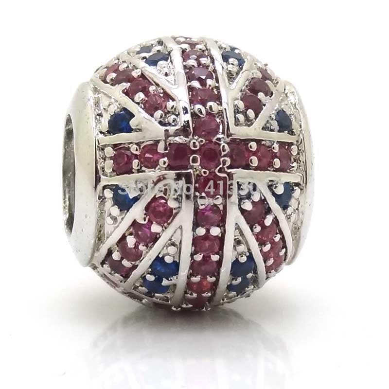 Fashion 925 Sterling Silver UK & England flag charm Zircon beads fit pandora pendants bracelets & Necklaces(China (Mainland))