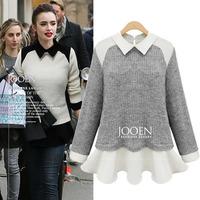Blusas Femininas Inverno Fashion Mixed Color Chiffon Patchwork Long Sleeve Knitting Tops Slim Waist Pretty Basic Pullovers 7686