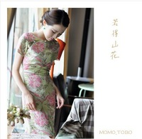 New arrival fashion and Vintage Women Qipao Dress-Light Green Flower, Linen,only one color, three total length, CPAM