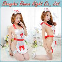 Midnight Nurse Knows Uniforms Best Peekaboo Nurse Costume w/ Fishnet Stockings, Female Sexy lingerie Costumes