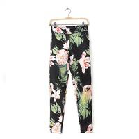 2014 New Autumn Women Fashion Floral Prints Capris Pants Ladies Suit Trousers With Pockets 4019326804