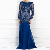 Elegant Gown Scoop Neck Blue Lace with Beading Chiffon Floor Length Long Sleeves Mother of Bride Dress 2014 Fall