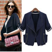 Casaquinhos Femininos Autumn 3/4Sleeve Street Cool Style Double Pockets Polyester Cardigan Coats Cozy Slim Short Jackets 388