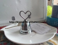 (300PCS/LOT) Kissing Bell Silver Heart Bell Place card holder with matching name card For Photo holder and table card holder