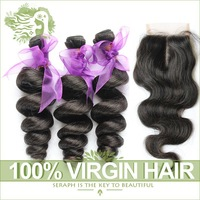 Peruvian Loose Wave With Closure 4Pcs Lot Unprocessed 6A Virgin Peruvian Hair Extensions Add Body Wave Lace Closures Human Hair
