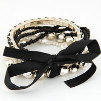 Min.Order $8.8(Mix Order) 2014 Europe America Fashion Women Bracelets Bohemia Ribbon Bead Multilayer Bracelet FB0023