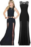New roupas femininas Vestido longo Sleeveless Long Mesh Accent Black Maxi Evening Dress women LC6652 gown  apparel