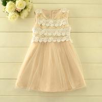 2014 New autumn,girls princess vest dress,children lace dress,beads,2 colors,5 pcs/lot,wholesale,1812