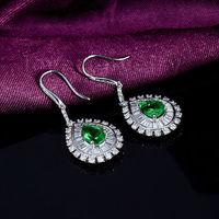 2014 September Fashion Women Pear 5x7mm Emerald Diamond Gemstones Earrings 18Kt White Gold