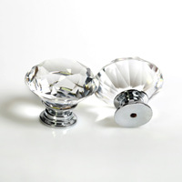 7PCS/LOT 30mm Clear Crystal Diamond Shaped Glass Drawer Pulls Knobs Cabinet Handles Glass Drawer Knobs Cupboard Door Handles