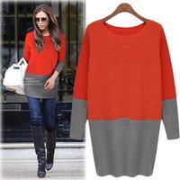 2014 Autumn Winter Ladies European Styel Color Block Long Slim Knitwear, Women's Pullover Sweater Dress Plus Size S-XL