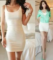 New 2014 Summer Sexy Women Spaghetti Strap Bodycon Bottoming Dress Vestidos, White, Gray, Navy Blue, Black,