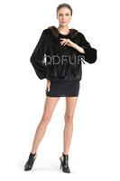 Luxury European Natural Whole-hide Mink Fur Jacket Coat with Sable Fur Collar Winter Women Fur Outerwear Coats QD70713