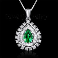 2014 New Jewelry Pear 5x7mm 18Kt White Gold Natural Diamond Emerald Gemstone Pendant